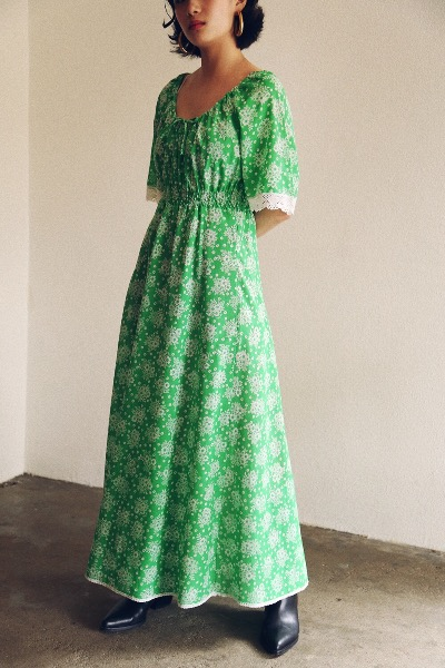 GREEN BOHEMIAN LONG DRESS