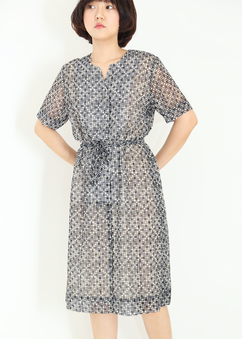 GREY DOTTS CHIFFON DRESS