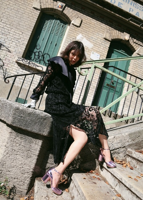 (SONIA RYKIEL)BLACK LACE DRESS