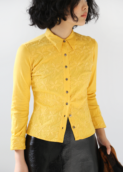 YELLOW EMBROIDERED SHIRT