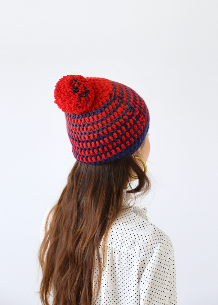 RED/NAVY KNIT HAT