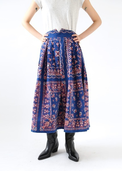 BLUE ETHNIC PRINT FULL SKIRT