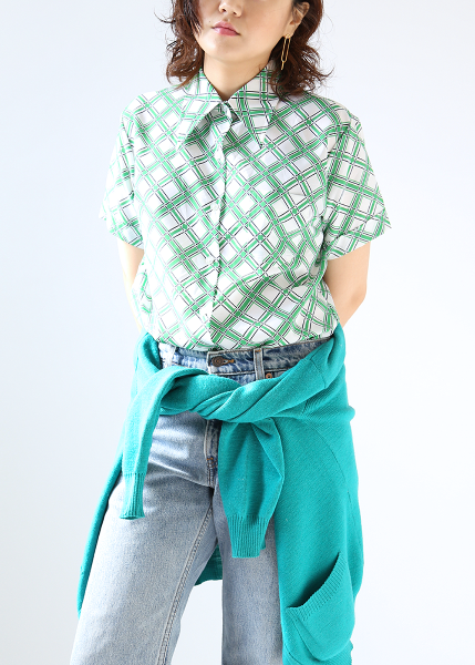 GREEN CROSS STRIPED SHIRT