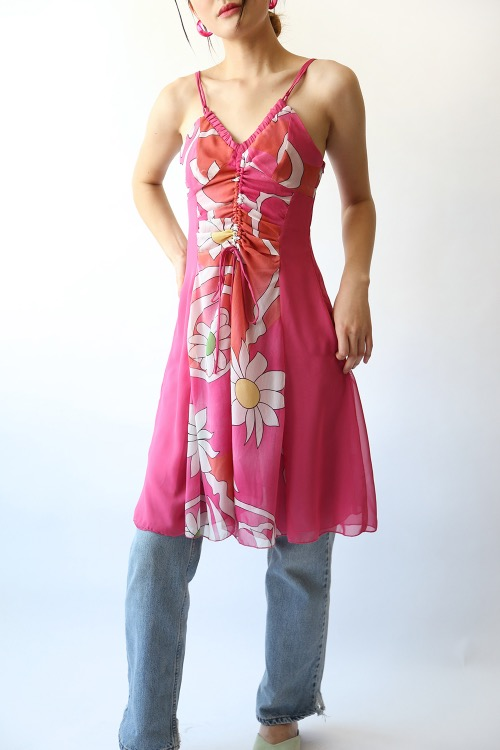 PINK STRING SILK DRESS