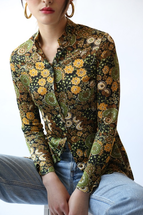 LUREX GREEN PRINT SHIRT