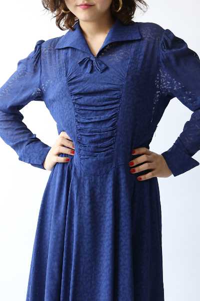30'S BLUE PETITE RIBBON DRESS