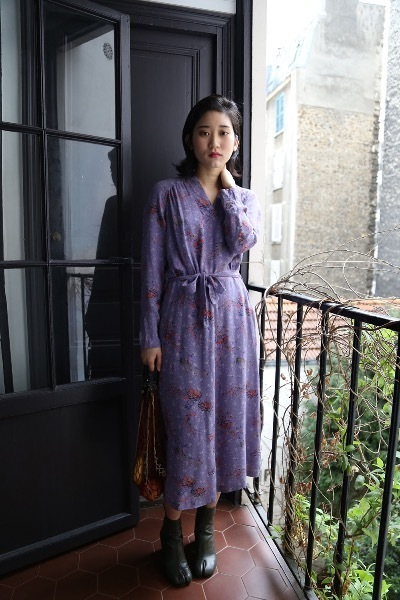LAVENDER NOVELTY PRINT DRESS