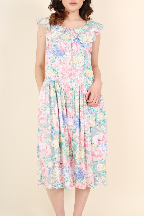 PASTEL FLOWER VISCOSE DRESS