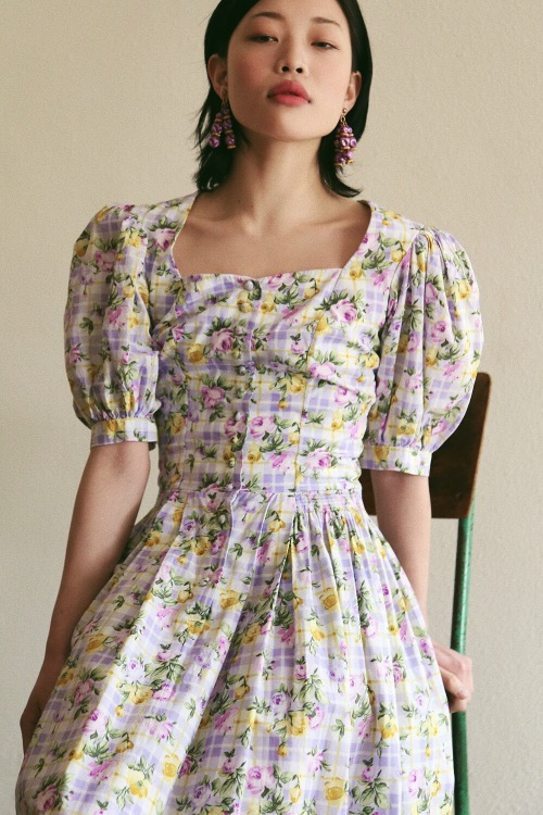 LAVENDER FLORAL ROMANTIC DRESS