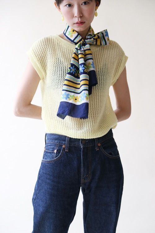 YELLOW NETTING KNIT TOP