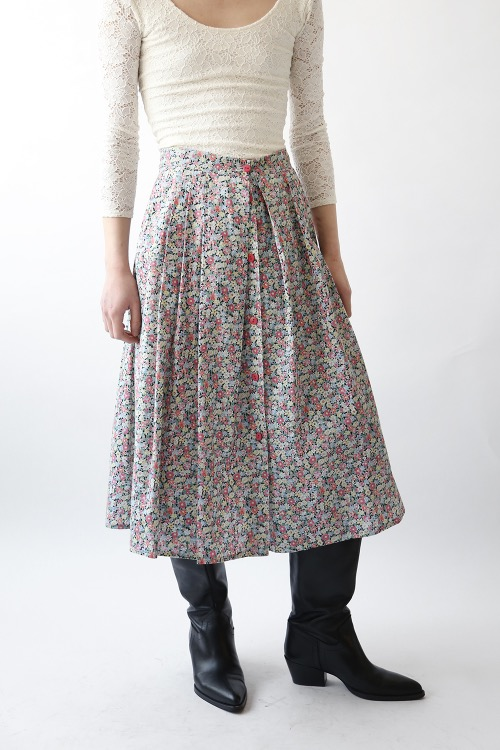 FRONT BUTTON FLORAL SKIRT