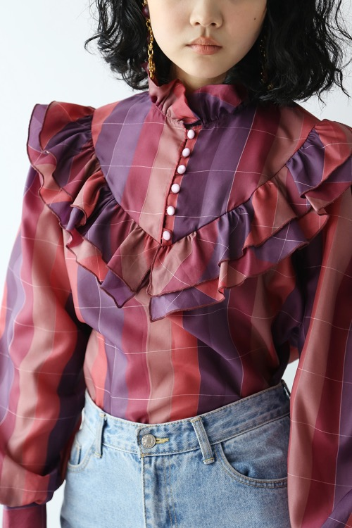 PURPLE ROMANTIC FRILLED BLOUSE