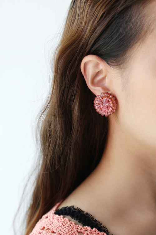 PEONY BEADED EARRINGS