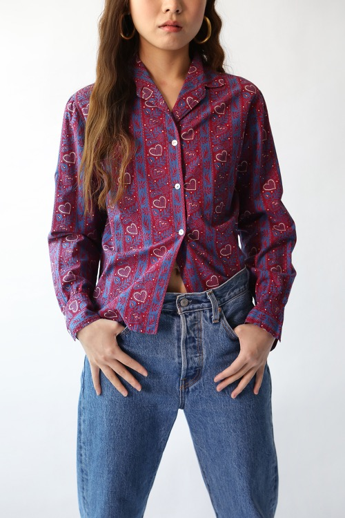 HEART PRINT COTTON SHIRT