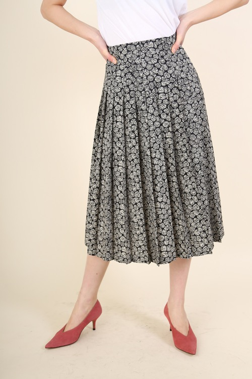 FRENCH FLORAL PLEATS SKIRT