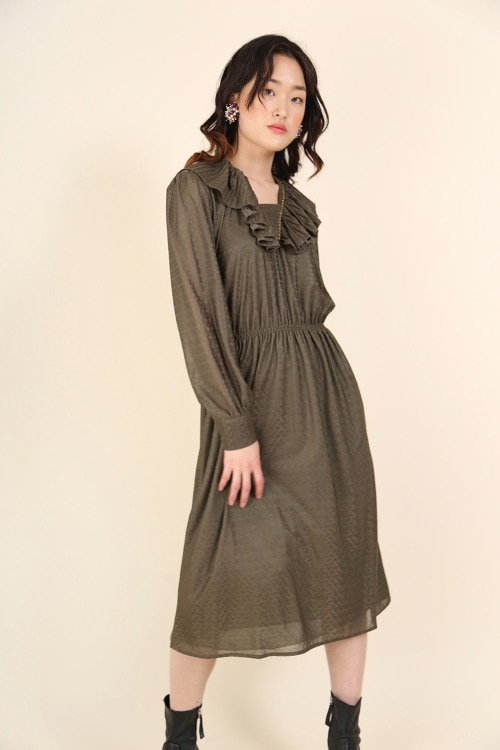 KHAKI FRILLED DRESS