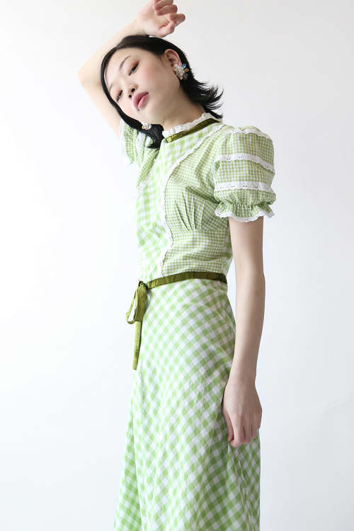 GINGHAM CHECK FRILLED DRESS