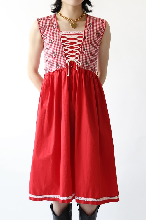 PETITE RED LACE UP DRESS