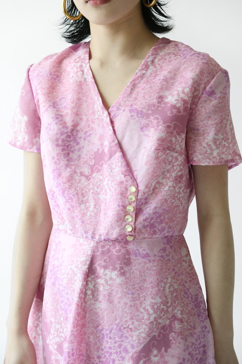 1960'S PINK CHIFFON DRESS