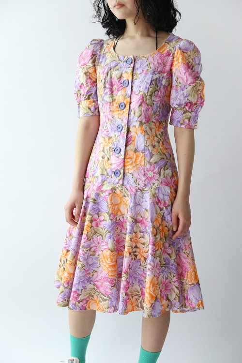 70'S PINK FLORAL COTTON RESS