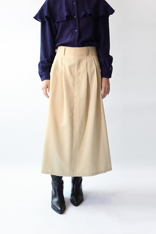 BEIGE SIDE BUTTON SKIRT