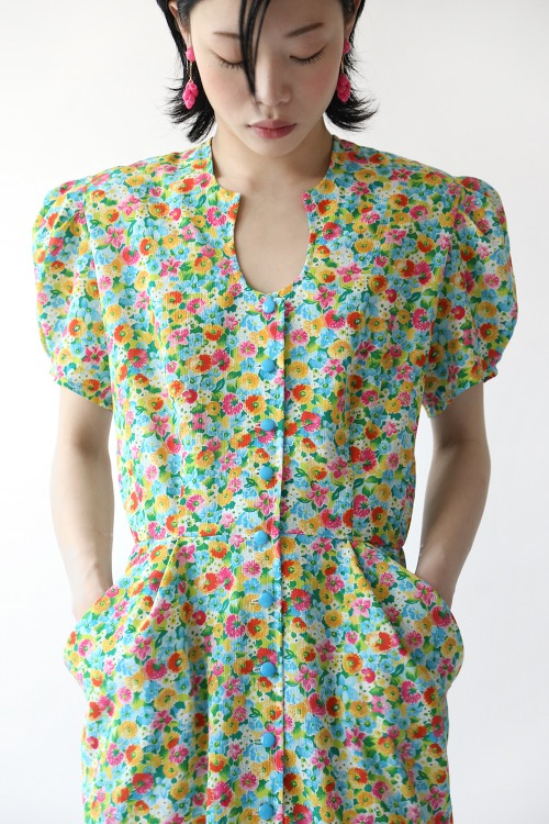 80'S PUFFED SLEEVE DRESS