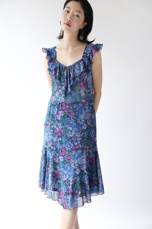 70'S FLORAL FRILLED DRESS