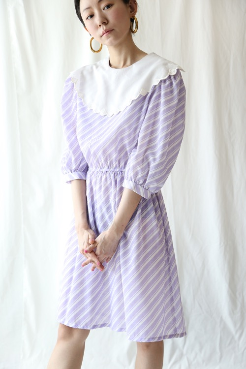 LILAC WAVE COLLAR COTTON DRESS