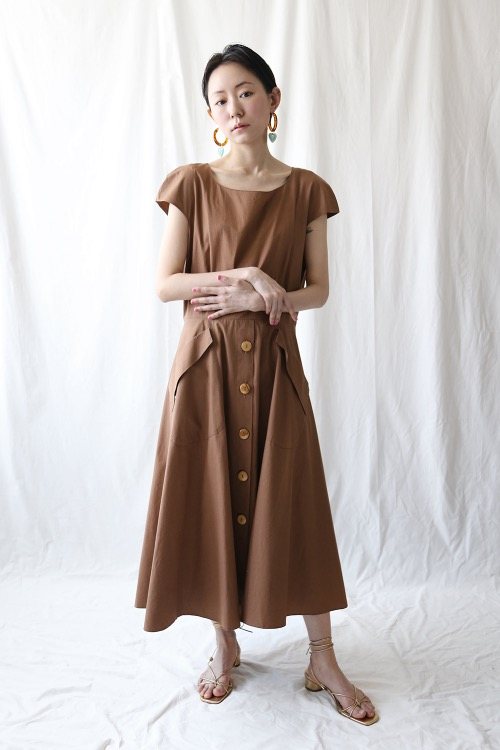 BROWN BASIC COTTON DRESS