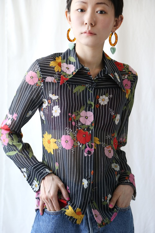 BLACK STRIPED FLORAL SHIRT