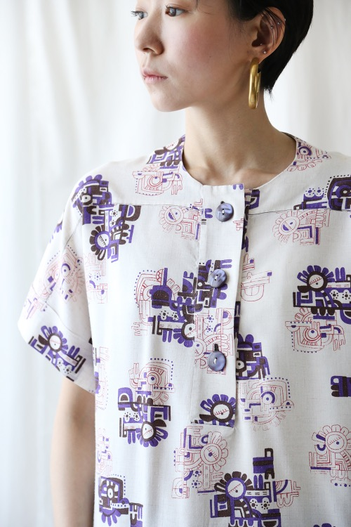 50'S BUTTONS LINEN BLOUSE