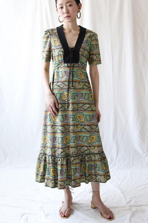 FOREST PAISLEY COTTON DRESS