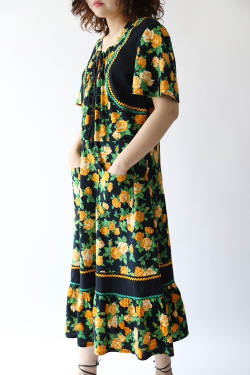 70'S YELLOW FLORAL DRESS