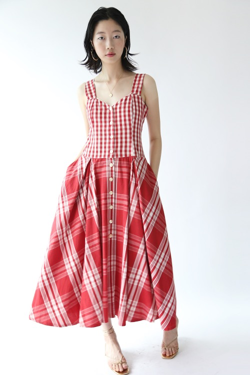 RED CHECKED FLARE DRESS