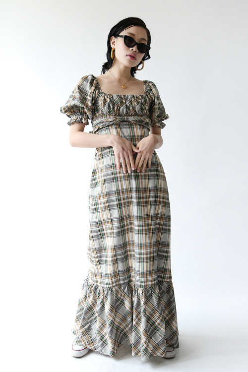 1970'S CHECK FRILLED DRESS