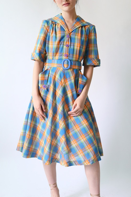 1970'S MADRAS CHECK DRESS