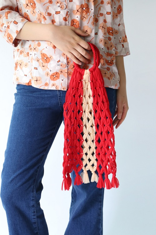 RED & BEIGE NETTING BAG