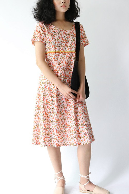 ORANGE FLORAL COTTON DRESS
