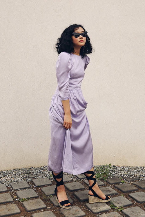 DIANA LILAC SATIN DRESS
