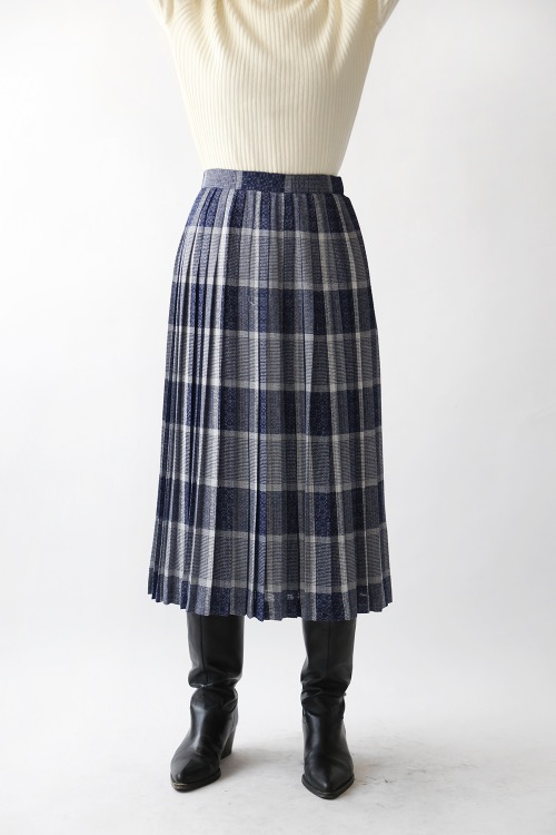 BLUE CHECKED PLEATS SKIRT