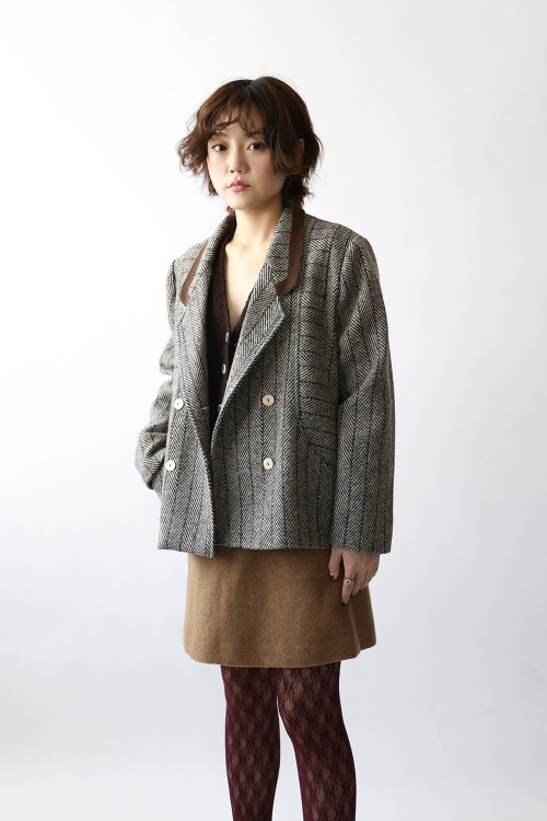 BROWN HERRINGBONE WOOL JACKET