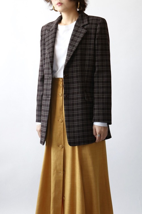 CHOCOLATE BROWN CHECK JACKET