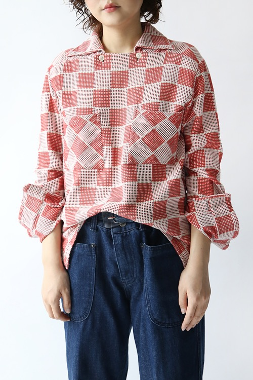 1970'S SQUARE PATTERN COTTON TOP