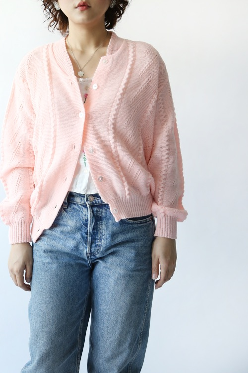 70'S BABY PINK KNIT CARDIGAN