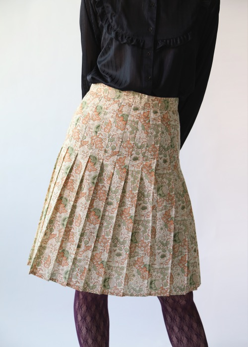 70'S FLORAL PLEATS SKIRT