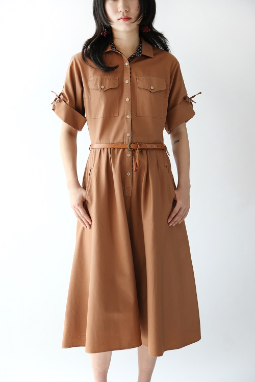 BROWN COTTON BELTED DRESS
