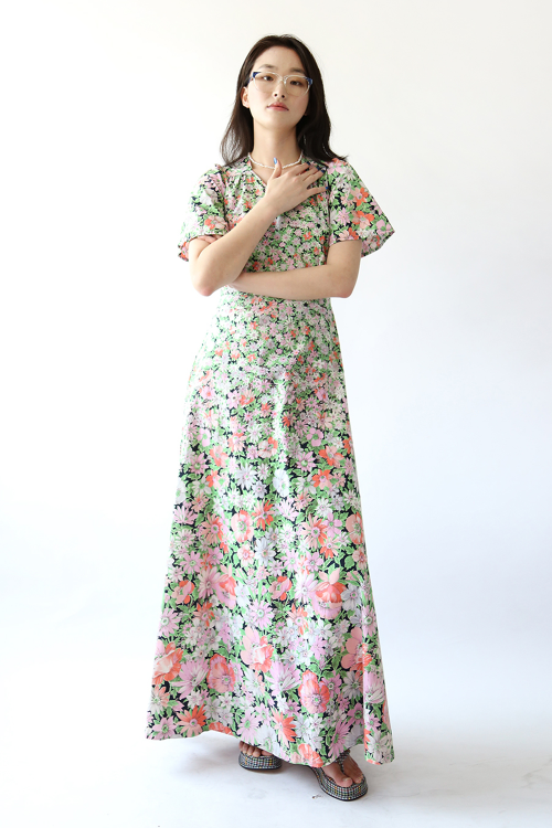 70'S FLORAL COTTON LONG DRESS