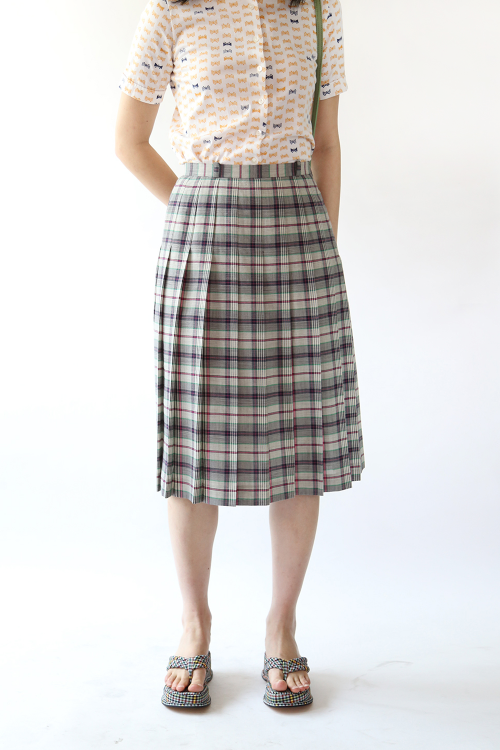 PREPPY CHECK PLEATS SKIRT