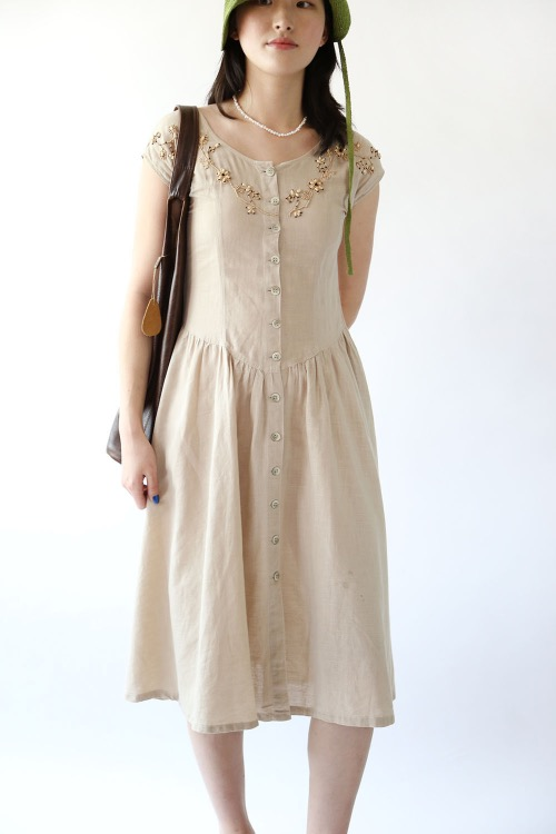 BEIGE LENEN BEADED DRESS