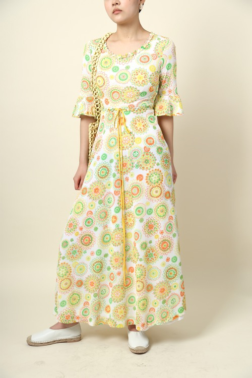 YELLOW PAISLEY PRINTED DRESS